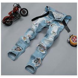 2019 patchs de danse Gros-Cool Mens Rock Dance Jeans Light déchiré en détresse Tassel Patched Hot Skinny Denim Pantalon Lavé Pour Hommes patchs de danse pas cher