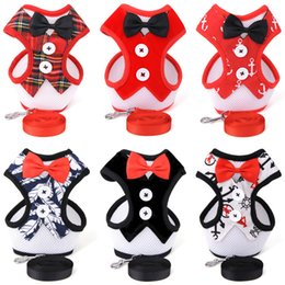 Wholesale Pets Boys - Dog Harness Collar Lead Vest Bowknot Pets Harness Gentlemen Style Supplies Suit For Boy Dogs Multi Patterns Available
