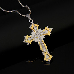 Wholesale Metal Snake Chain Necklaces - New Designs Fashion Men jewelry christian cross pendant stainless steel metal large cross High Quality free shipping