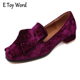Wholesale Vintage Toys Sale - Hot sale TOY WORD 2017 Velvet High Heels Slip On Vintage Oxfords Casual Knot Shoes Woman Platform Women Brogue Shoes Size 35-40 XWD5188