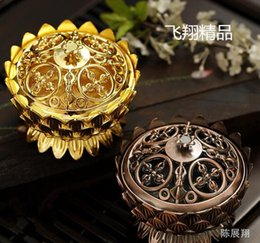 Wholesale Tibetan Decorations - Copper Lotus Incense Burner Alloy Mini Tibetan Incense Burner Sandalwood Censer Home Decor