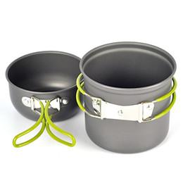 Wholesale Camping Cooking - 2pcs set Portable aluminum alloy camping pot set Pot Pan Bowl cookware mini Outdoor Hiking Cooking Set