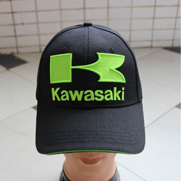 Wholesale Kawasaki Cap - 2016 100% Cotton Baseball Green Black Caps Kawasaki F1 Racing bone CAR Motorcycle Sun Cap Hats Moto Gp gorras de beisbol