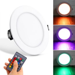 Wholesale Driver Control - Newly RGB led down lights 3W 5W 10W Round LED Panel Light With Remote Control ceiling light Led recessed lights AC85-265V + Driver