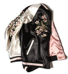 Wholesale vintage bomber jacket women - Jacket Women Floral Embroidered Bomber Jacket Satin Black Vintage Autumn winter 2017 fashion Brand coat Chaquetas Women Clothing