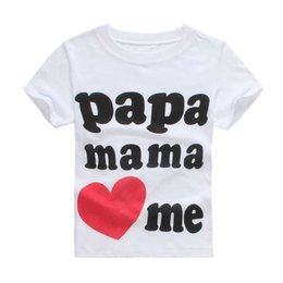 Wholesale Tshirts For Kids Boys - 2-7Year Papa Mama Love Me Baby Children' Clothing T-shirts for girls boys Letter Printed Kids children Clothes tshirts Wholesale