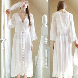 Wholesale See Through Nightgown Woman - Wholesale- Long Sexy Nightgown Women see through Lace pajamas Women Nightwear White Color popular sleepwear Free Shipping