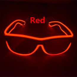Wholesale Neon Party Lights - LED Simple glasses Wire Fashion Neon LED Light Up Shutter Shaped Glow Sun Glasses Rave Costume Party DJ Bright SunGlasses