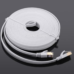 Wholesale rj45 shielded cable - Wholesale- High Speed 10Gbps Cat7 SSTP RJ45 Network Flat Shielded Twisted Pair LAN Cable Internet Network Cable with Plated Connector