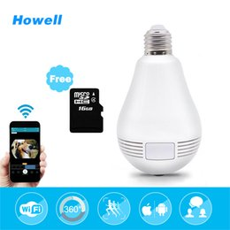 Wholesale Wireless Security Light Camera - Howell 1080P HD 360 Degree WIFI Camera Wireless IP Camera E27 3w Wi-Fi Light Bulb Lamp Fisheye Panoramic Surveillance Security Bulb Camera