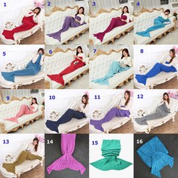 Wholesale Colors Blue Red Green Yellow - 16 Colors Adult and Kids Crochet Mermaid Tail Blankets Sleeping Bags Costume Cocoon Mattress Knit Sofa Blankets Handmade Living Room