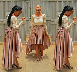 pictures bella UK - Pink Prom Dresses High Low bella naija Evening Dress 2017 Pageant Party Gowns Vintage Lace Long Sleeves Custom Size