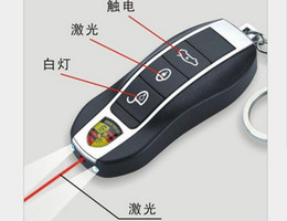 Wholesale Electric Car Keys - Novelty Funny Tricky toys creative birthday gift electric car key ring girls props Electricity people laser light Shock Toys