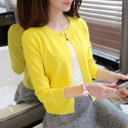 Wholesale Thin Outerwear Sweater - new solid color fashion women Sweater female cardigan thin outerwear 2016 summer short design sweater long-sleeve small cape AI86532