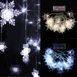 Wholesale Battery Snowflake - Battery Power LED String Light 7 feet Indoor Christmas Tree Light 20 Led Snowflake Fairy Light Strings for Birthday Party Wedding Decor
