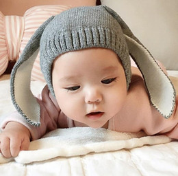 Wholesale Kids Bunny Ear Hat - Autumn Baby Cartoon Bunny Ears Hat Kids Knitted Cap Girls Boys Warm Beanies Children Hats 12484