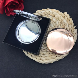 Wholesale Mirrored Rose Compact - New Rose golden or sliver plate Pocket Compact Mirror Blank Round Metal Makeup Mirror ,Personalized Mirror,each packing in gift box