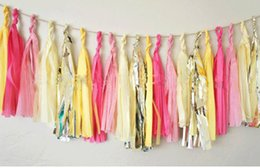 Wholesale Tassel Dance - TISSUE PAPER POM POMS Tassels Garlands Wedding Decorations Bunting Tassle Festive Wedding Decoration Mixed Color Collocation