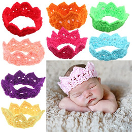 Wholesale Crochet Elastic Hair Bands - PrettyBaby baby hair accessories solid headbands crown kids elastic hair bands baby headbands hair tie band newborn crochet crown in stock