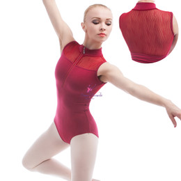 Wholesale Red Unitards - Dance Favourite Wine red color high neck ballet dance leotard with zipper design on front drop shipping 01D0006