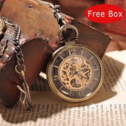 Wholesale Luxury Pocket Watch Men - Wholesale-Luxury Royal London Eyes Mechanical Men Pocket Watch With Chain Steampunk Skeleton Necklace Round Vintage Pocket Watch Box PW192