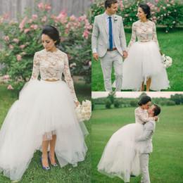 Wholesale Two Piece Simple Wedding Dresses - Two Pieces Lace Beach Wedding Dresses 2016 Long Sleeves High Low Tulle Summer Bohemian Wedding Gowns Vestidos De Novia BA3442