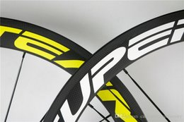 Wholesale Rear Hub 24h - Front-Rear 20 24H Yellow-White logo road bike carbon wheels Super Team 50mm carbon wheels with 20.5mm width Novatec A271 Hubs Free shiping