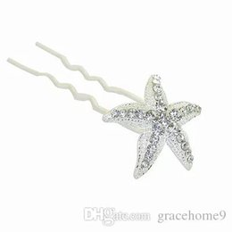 Wholesale Feather Hairpieces - Bridal Wedding Hair Pins and Clips Rhinstone U Style Stick Women Hairpiece Starfish Hair Accessories Jewelry Prom Fashion Long Hair Decerate