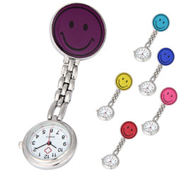 Wholesale Doctor Watch Smile - Fashion Smile Face Stainless Steel Nurse Pocket Fob Watch New Silver Medical Doctor Brooch Quartz Analog Pendant Watch