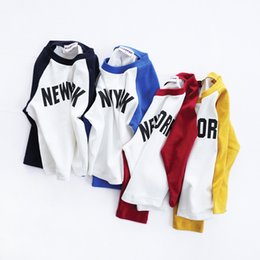 Wholesale Fashion Shirt For Kids Girls - Boutique T-shirt Long sleeve for boy Raglan sleeve NEW YORK Letters Kids Tees Tops Boys clothes 2017 Fall Spring 2-7T
