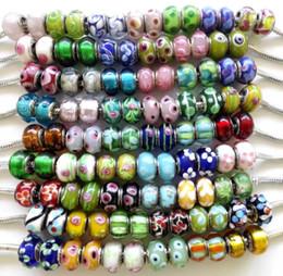 Bracelets de style pandora faits à la main en Ligne-100 Pcs Mixte multi-style À La Main Lampwork Murano Verre Charme Perles Pour Pandora Européenne Bijoux Bracelet perles de verre