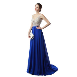 Wholesale Cowl Neck Prom Dress Chiffon - Hot Sale V Neck Prom Dresses 2017 Free Shipping Beaded Crystal Sweep Train Chiffon Evening Gowns Vestidos de Noiva
