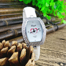 Wholesale Heart Ceramic Watch - Free shipping!copy ceramic resin band,silver plate alloy oval case with rhinestone,heart imprint dial,gerryda fashion woman quartz watches