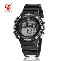 Wholesale Boys Lighting Watch - 2017 NEW ARRIVAL OHSEN Fashion Boys Kids Plastic Rubber Digital Alarm Watches 50M Waterproof Sports Running Wristwatches With El Light Gift