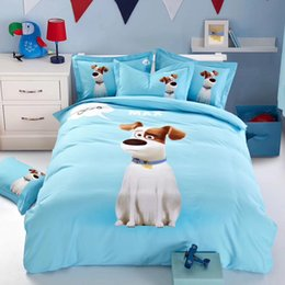 Wholesale Aqua Sheet Set King - 100%cotton fabric bedding set bed cover bed sheet and pilliw case four pieces twill weaving fabric cartoon designs yellow color woodpecker