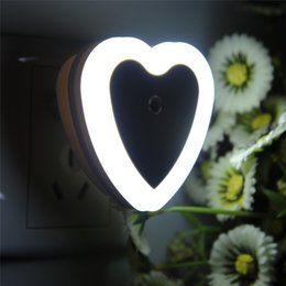 Wholesale Love Hearts Bedding - Wholesale- Fashion LED Night Light EU Plug 4 Colors Novelty Bed Lamp For Baby Bedroom Gift Romantic Love Heart Shape Colorful Lights