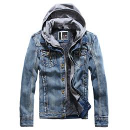 Wholesale Gray Denim Jacket Men - Men Brand Autumn Winter Jacket Hooded Cashere Coats Thick Outwear Denim Jeans Motorcycle Biker Jackets Outdoor Clothes