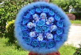 Wholesale Cute Birthday Doraemon - Cute Cartoon 8 Blue Doraemon Jingle Cat 19 Blue Artificial Roses Feather Bouquet Wedding Decor Girlfriend Birthday Gift DLAM