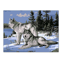 Wholesale Canvas Painting Numbers - No Frame Wolf Animals DIY Painting By Numbers Kits Paint On Canvas Acrylic Coloring Painitng By Numbers For Home Decor Artwork