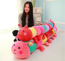 Wholesale Gift Toy For Girlfriend - 90 cm Colorful caterpillar plush toy doll bed pillow girlfriend favorite doll birthday gift for children free shipping