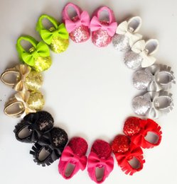 Wholesale Soft Leather Kids Shoes - New Tassels & Bow Sequin Baby Moccasins Soft Moccs Baby Shoes Kids PU Leather Newborn Baby Prewalker free shipping E971