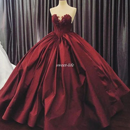 Wholesale Ruffled Full Ball Gowns - Real Images Ball Gown Evening Dresses Dark Burgundy Satin Sweetheart Applique Beaded Full Length 2016 Custom Made Occasion Dress Prom Gowns
