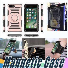 Wholesale Iphone Sports Car - Shockproof Case Car Magnetic Outdoor Sport Cover With Armband And Retail Package For iPhone X 8 7 6 6S Plus 5 5S SE Samsung S7 S8 Plus Edge