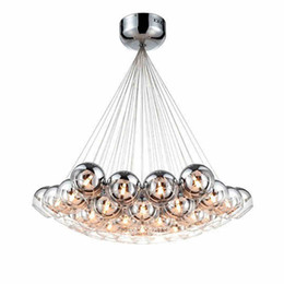 Wholesale White Lights Brown Cord - Modern Chrome Glass Balls LED Pendant Chandelier Light For Living Dining Study Room Home Deco G4 Hanging Chandelier Lamp Fixture