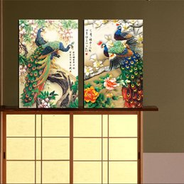 Wholesale Pot Painting Pictures - Unframed 2 Pieces Free Shipping Canvas Prints peacock crane bird Stream in the forest flower duck globe abstract potted flower tree