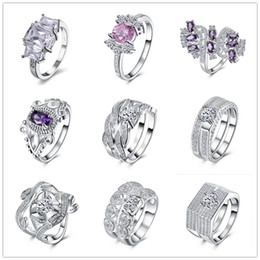 Wholesale White Zircon Solitaire Ring - Mixed Order 9pcs beautiful 925 sterling silver plated wedding   engagement ring with AAAA zircon woman fashion jewelry christmas gift