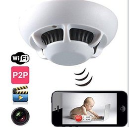 Wholesale Indoor Camera Covert - Smoke Spy UFO Detector Hidden Covert CCTV Camera with 5.0 Mega CMOS Color CCD 4xVideo Pinhole Lens for Security Surveillance Ip Camera