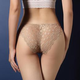 Wholesale Ladies Transparent Briefs - Luxury ladies underwear sexy lace transparent temptation briefs low waist hip hip T pants