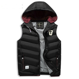Wholesale Sleeveless Outwear - Casual Jacket Hoodies Sleeveless Mens Male Winter Autumn Waistcoat Vest Warm Thicking Cotton Paaded Outwear Overcoat 2017 Brand