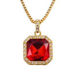 Wholesale Necklace Real Gold For Man - 2016 18k Real Gold Plating Chain Square Faux Ruby Onyx Pendant Necklace Jewelry Statement Necklace For Women Men Chrismas Gift